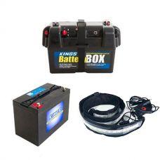 Adventure Kings AGM Deep Cycle Battery 115AH + Battery Box + Illuminator MAX LED Strip Light