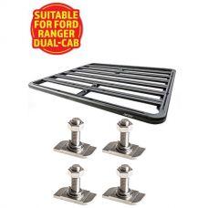 Adventure Kings Aluminium Platform Roof Rack Suitable for Ford Ranger Dual-Cab 2011+ + Kings 28mm T Bolt (4 Pack)