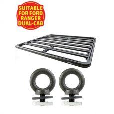 Adventure Kings Aluminium Platform Roof Rack Suitable for Ford Ranger Dual-Cab 2011+ + Kings Roof Rack Eye Bolts (2 pack)