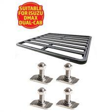 Adventure Kings Aluminium Platform Roof Rack Suitable for Isuzu DMAX Dual-Cab 2012+ + Kings 28mm T Bolt (4 Pack)