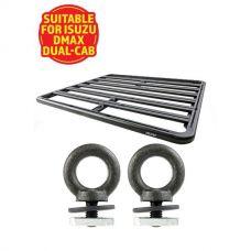 Adventure Kings Aluminium Platform Roof Rack Suitable for Isuzu DMAX Dual-Cab 2012+ + Kings Roof Rack Eye Bolts (2 pack)