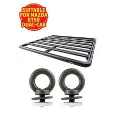 Adventure Kings Aluminium Platform Roof Rack Suitable for Mazda BT50 Dual-Cab 2011+ + Kings Roof Rack Eye Bolts (2 pack)