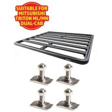 Adventure Kings Aluminium Platform Roof Rack Suitable for Mitsubishi Triton ML-MN Dual-Cab 2006-2015 + Kings 28mm T Bolt (4 Pack)