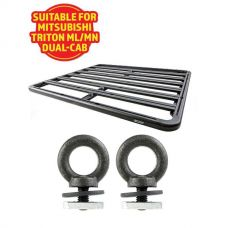 Adventure Kings Aluminium Platform Roof Rack Suitable for Mitsubishi Triton ML-MN Dual-Cab 2006-2015 + Kings Roof Rack Eye Bolts (2 pack)