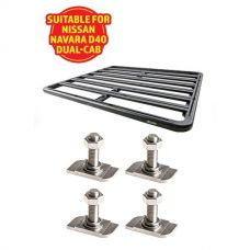 Adventure Kings Aluminium Platform Roof Rack Suitable for Nissan Navara D40 Dual-Cab + Kings 28mm T Bolt (4 Pack)