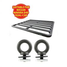 Adventure Kings Aluminium Platform Roof Rack Suitable for Nissan Navara D40 Dual-Cab + Kings Roof Rack Eye Bolts (2 pack)