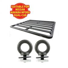 Adventure Kings Aluminium Platform Roof Rack Suitable for Nissan Navara NP300 D23 Dual-Cab 2015+ + Kings Roof Rack Eye Bolts (2 pack)