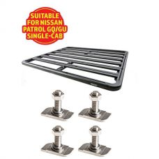 Adventure Kings Aluminium Platform Roof Rack Suitable for Nissan Patrol GQ/GU Single-Cab 1987-2016 + Kings 28mm T Bolt (4 Pack)