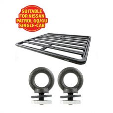 Adventure Kings Aluminium Platform Roof Rack Suitable for Nissan Patrol GQ/GU Single-Cab 1987-2016 + Kings Roof Rack Eye Bolts (2 pack)