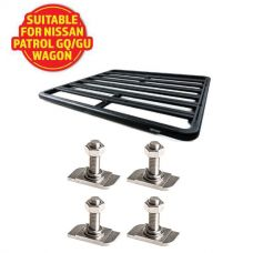 Adventure Kings Aluminium Platform Roof Rack Suitable for Nissan Patrol GQ/GU Wagon 1987-2016 + Kings 28mm T Bolt (4 Pack)