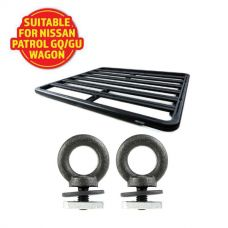Adventure Kings Aluminium Platform Roof Rack Suitable for Nissan Patrol GQ/GU Wagon 1987-2016 + Kings Roof Rack Eye Bolts (2 pack)