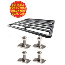 Adventure Kings Aluminium Platform Roof Rack Suitable for Toyota HiLux N70 Dual-Cab 2004-2015 + Kings 28mm T Bolt (4 Pack)