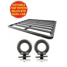 Adventure Kings Aluminium Platform Roof Rack Suitable for Toyota HiLux N70 Dual-Cab 2004-2015 + Kings Roof Rack Eye Bolts (2 pack)