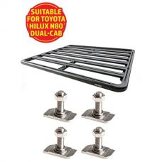 Adventure Kings Aluminium Platform Roof Rack Suitable for Toyota HiLux N80 Dual-Cab 2015+ + Kings 28mm T Bolt (4 Pack)