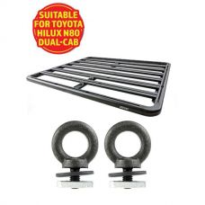 Adventure Kings Aluminium Platform Roof Rack Suitable for Toyota HiLux N80 Dual-Cab 2015+ + Kings Roof Rack Eye Bolts (2 pack)