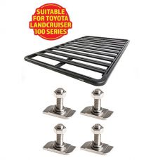 Adventure Kings Aluminium Platform Roof Rack Suitable for Toyota Landcruiser 100 Series 1998-2007 + Kings 28mm T Bolt (4 Pack)