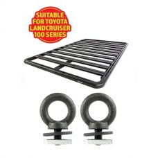 Adventure Kings Aluminium Platform Roof Rack Suitable for Toyota Landcruiser 100 Series 1998-2007 + Kings Roof Rack Eye Bolts (2 pack)