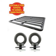 Adventure Kings Aluminium Platform Roof Rack Suitable for Toyota Landcruiser 79 Series Dual-Cab 2012+ + Kings Roof Rack Eye Bolts (2 pack)