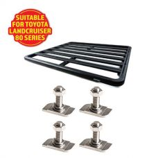 Adventure Kings Aluminium Platform Roof Rack Suitable for Toyota Landcruiser 80 Series 1990-1997 + Kings 28mm T Bolt (4 Pack)