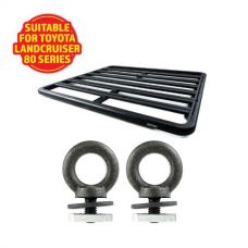 Adventure Kings Aluminium Platform Roof Rack Suitable for Toyota Landcruiser 80 Series 1990-1997 + Kings Roof Rack Eye Bolts (2 pack)