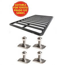 Adventure Kings Aluminium Platform Roof Rack Suitable for Toyota Prado 120 Series 2002-2009 + Kings 28mm T Bolt (4 Pack)