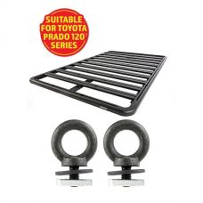 Adventure Kings Aluminium Platform Roof Rack Suitable for Toyota Prado 120 Series 2002-2009 + Kings Roof Rack Eye Bolts (2 pack)
