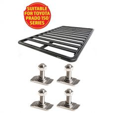 Adventure Kings Aluminium Platform Roof Rack Suitable for Toyota Prado 150 Series 2009+ + Kings 28mm T Bolt (4 Pack)