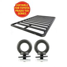 Adventure Kings Aluminium Platform Roof Rack Suitable for Toyota Prado 150 Series 2009+ + Kings Roof Rack Eye Bolts (2 pack)