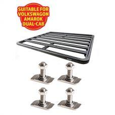 Adventure Kings Aluminium Platform Roof Rack Suitable for VW Amarok Dual-Cab 2011+ + Kings 28mm T Bolt (4 Pack)