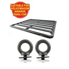 Adventure Kings Aluminium Platform Roof Rack Suitable for VW Amarok Dual-Cab 2011+ + Kings Roof Rack Eye Bolts (2 pack)