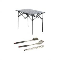 Adventure Kings Aluminium Roll-Up Camping Table + BBQ Tool Set