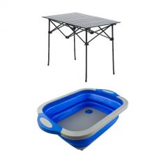 Adventure Kings Aluminium Roll-Up Camping Table + Collapsible Sink