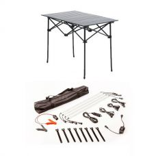 Adventure Kings Aluminium Roll-Up Camping Table + Illuminator 4 Bar Camp Light Kit
