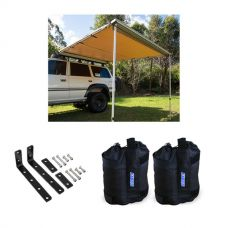 Adventure Kings Awning 2.5 x 2.5m + Awning Mounting Brackets (Pair) + Adventure Kings Sand Bags (pair)
