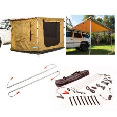 Adventure Kings Awning 2.5x2.5m + Awning Tent 2.5x2.5m + Orange LED Camp Light Extension Kit + Illuminator 4 Bar Camp Light Kit