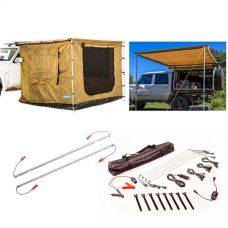 Adventure Kings Awning 2x3m + Awning Tent 2x3m + Orange LED Camp Light Extension Kit + Illuminator 4 Bar Camp Light Kit