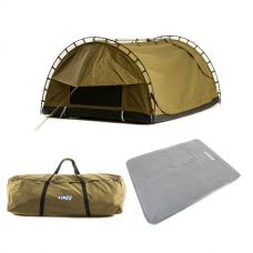 Adventure Kings Big Daddy Canvas Shell & Poles + Self Inflating 100mm Foam Mattress - Queen + Swag Canvas Bag