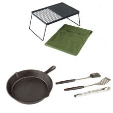 Adventure Kings Camp Fire BBQ Plate + Cast Iron Skillet Pan + BBQ Tool Set