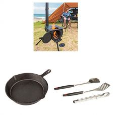 Adventure Kings Camp Oven/Stove + Cast Iron Skillet Pan + BBQ Tool Set
