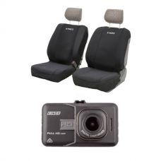 Adventure Kings Dash Camera + Adventure Kings - Neoprene Front Seat Covers (Pair)