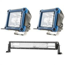 "Adventure Kings Domin8r 22"" LED Light Bar + 3"" LED Work Light - Pair"