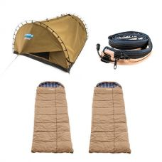 Adventure Kings Double Swag Big Daddy Deluxe + 2x Premium Sleeping bag -5°C to 5°C - Left and Right Zipper + LED Strip Light