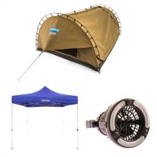 Adventure Kings Double Swag Big Daddy Deluxe + Gazebo 3m x 3m + 2in1 LED Light & Fan
