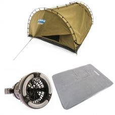Adventure Kings Double Swag Big Daddy Deluxe + Self Inflating 100mm Foam Mattress - Queen + 2in1 LED Light & Fan