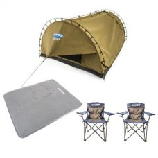 Adventure Kings Double Swag Big Daddy Deluxe + Self Inflating 100mm Foam Mattress - Queen + 2x Throne Camping Chair