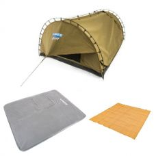 Adventure Kings Double Swag Big Daddy Deluxe + Self Inflating 100mm Foam Mattress - Queen + Mesh Flooring 3m x 3m