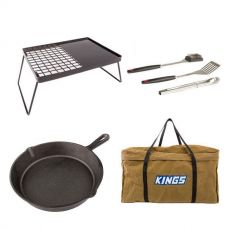 Adventure Kings Essential BBQ Plate + BBQ Tool Set + Skillet Pan + BBQ Canvas Bag