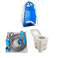Adventure Kings Portable Camping Toilet + Adventure Kings Shower Tent + Adventure Kings Portable Shower Kit