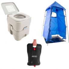 Adventure Kings Portable Camping Toilet + Adventure Kings Shower Tent + Solar Shower