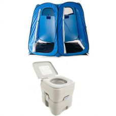 Adventure Kings Portable Camping Toilet + Double Ensuite/Shower Tent